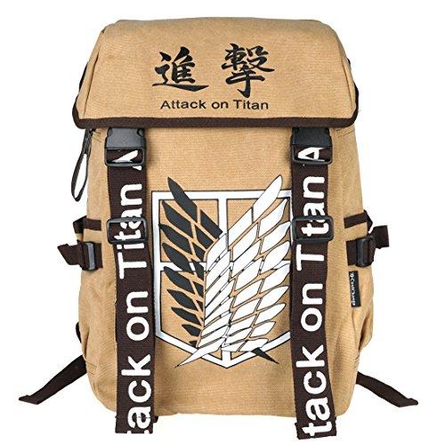 CoolChange Mochila Grande de Attack on Titan con Logo de la Legion de reconocimiento, marrón