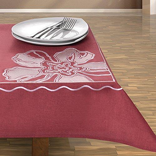DecoKing rood bordeaux bordeaux bordeaux tafelkleed tafelkleed tafelkleed bloemenmotief bloemen geborduurd elegant praktisch onderhoudsvriendelijk linnenlook met boord modern 3919