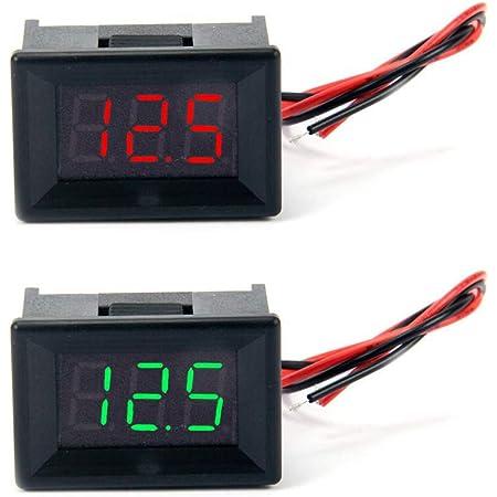 Jolicobo 2 StÜcke 0 36 Led Dc Spannungsmesser Panel 2 4 30 V 2 Draht Mit Kopf Gehäuse Digital Voltmeter Elektrische Anzeige Genauigkeit Volt Monitor Tester Rot Grün Display Baumarkt