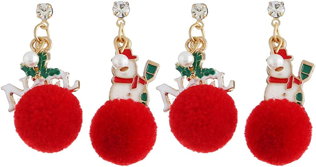 BESTOYARD 2 Pairs Christmas Ball Earrings Snowman Dangle Earrings Holiday Pendant Earrings For Women Girls Christmas New Year Party Ear Jewelry Decoration (White Red)