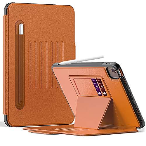 Funda para iPad Air 4 de 10,9 pulgadas, con soporte para bolígrafo, soporte magnético multiángulo y función de encendido y apagado automático, color marrón