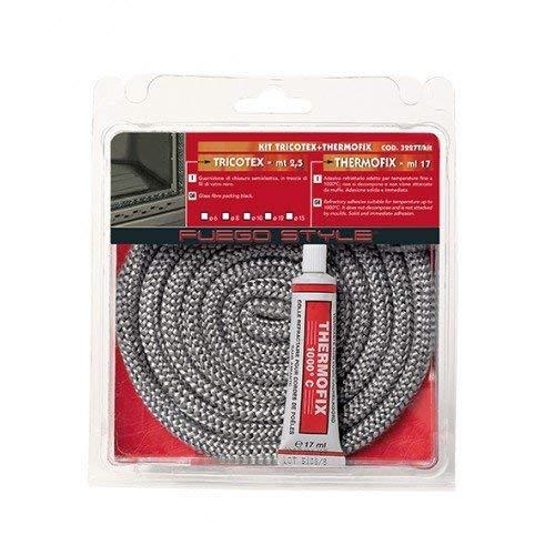 Guarnizione termica alte temperature per stufa 2,5 mt camino caldaia corda con adesivo (mm 6)