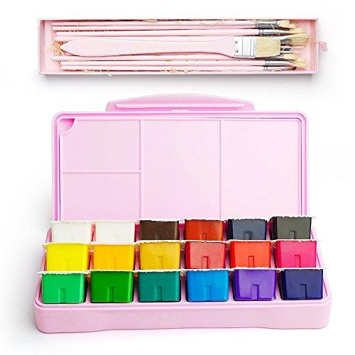 MIYA Gouache Paint Kit, 18 Colors x 30 Milliliter Paint Set,10 Pieces Hog Bristle Paint Brushes, Unique Jelly Cup Design with Portable Case Gouache, Perfect for Oil, Acrylic Painting (Pink)