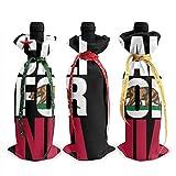 YANPING Drapeau californien 3 pièces Sacs de Couverture de Bouteille de vin avec Cordons pour dîner dégustation de vin décorations de Table de fête