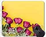 Cojín de ratón Antideslizante, Caucho Natural, rectángulo, Mouse Pads, Flor Rosa Rosa Flor - Bordes cosidos