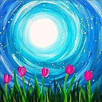 フルダイヤモンドラウンドスクエア5Dダイヤモンド絵画ウォータームーンダイヤモンド刺繍-3_50x70cmフルスクエア