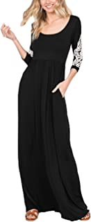 AOOKSMERY Women Casual Loose Long Sleeve Dress Solid Color Round Neck Maxi Dresses with Pockets