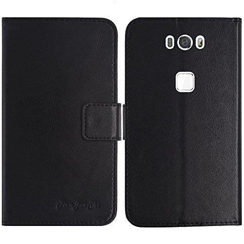 TienJueShi Schwarz Flip Book-Style Brief Leder Tasche Schutz Hulle Handy Hülle Abdeckung Fall Wallet Cover Etui Skin Fur Gigaset ME GS55-6 5 inch