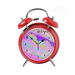Child Retro Classic Needle Double Bells Ringing Alarm Clocks Vintage Alarm Clocks Home Decor Desktop Clocks Red Colorful Pink Gold Glitter Sparkle Unicorn Rainbow