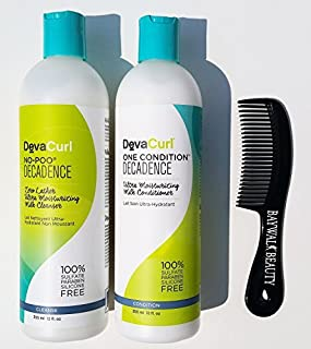 DevaCurl Decadence No-Poo Cleanse 12oz and Decadence One Condition 12oz DUO with FREE shower comb