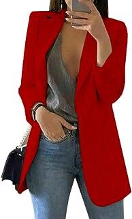 Fasumava Donna Primavera Autunno Elegante Taglio Bell Manica Blazer Nero Cappotti