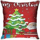 KLing Square Throw Pillow Case Throw Pillow Cover Merry Christmas Santa Tree Funda de Almohada Decorativa Decoración Cojín Funda de Almohada,20x20 Inches