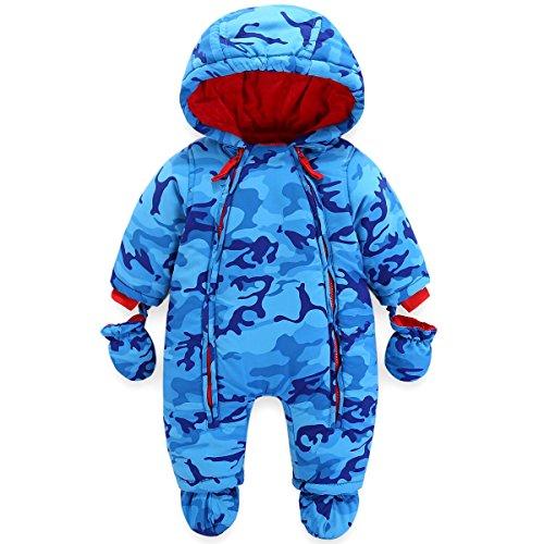 JiAmy Bebé Niños Mameluco con Capucha Invierno Conjunto de Ropa Traje de Nieve con Guantes y Botines Trajes de Algodón 3-6 Meses