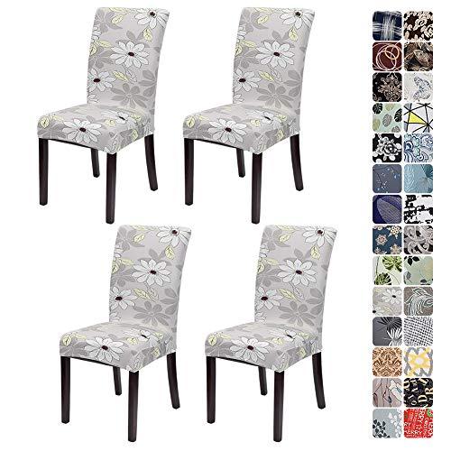 JOTOM Stuhlhussen Universal Stretch Stuhlbezug Elastische Moderne Stuhl Hussen Set Abnehmbare Dekoration Stuhlabdeckung für Esszimmer Party Hotel Restaurant Deko (Blumen und Blätter, 4er Set)