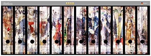 Wallario Ordnerrücken Sticker Bemalte Holzplanken mit Alter Schrift in Premiumqualität - Größe 72 x 30 cm, passend für 12 breite Ordnerrücken