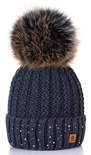 4sold Winter Autunno Inverno Cappello Cristallo più Grande Pelliccia Pom Pom Invernale di Lana Berretto delle Signore delle Donne Beanie Hat Pera Sci Snowboard di Moda (Dark Gray)