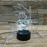 Lampara LED Manga Anime Dragon Ball Goku Kid Cambia Color USB Luz Nocturna y decoración