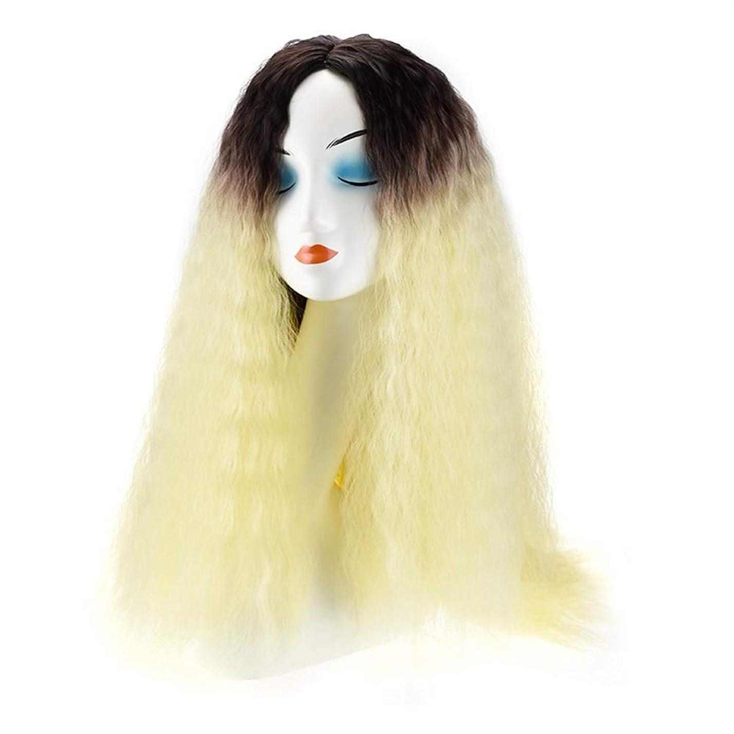 外交官回転墓YESONEEP 20インチブロンド変態ストレートコーンホットウィッグファッションビッグウェーブロングヘア人工毛用女性毎日のドレスパーティーかつら (色 : Blonde)