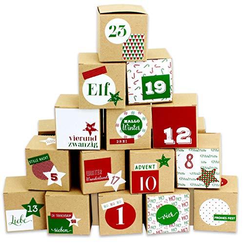 Papierdrachen DIY Adventskalender zum Befüllen - 24 Kisten zum Basteln - Motiv Rot-grün - 24 naturbraune Schachteln aus 400g/m²-Karton zum Aufstellen und Dekorieren - 24 Boxen - Warten auf Weihnachten