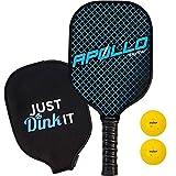 Pickleball Paddle with 2 Pickleballs | Lightweight | Apollo Premium Graphite/Carbon Fiber | Meets USAPA Specifications