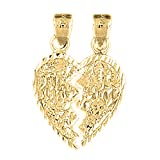 Jewels Obsession 18K Mizpah Pendant | 18K Yellow Gold Breakable Heart Mizpah Pendant, Made in USA