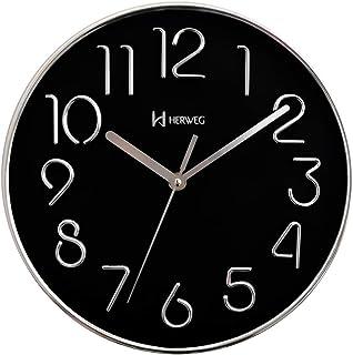 Relógio Silencioso Parede 25 Cm Preto 6480 Cromado Herweg