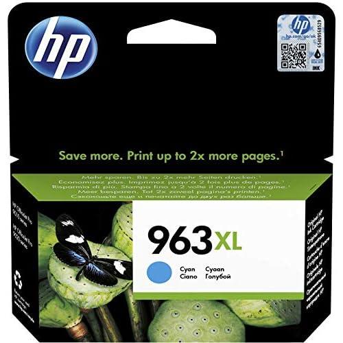 HP 963XL 3JA27AE Cartuccia Originale, ad Alta Capacità, da 1.600 Pagine, Compatibile con Stampanti a Getto d'Inchiostro HP OfficeJet Pro Serie 9010 e HP OfficeJet Pro 9020, Ciano