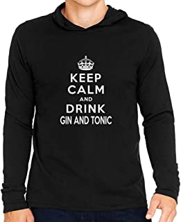 Idakoos Keep Calm and Drink Gin and Tonic Hooded Long Sleeve T-Shirt