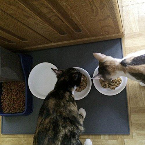 Earthbay Silikon Futtermatten, 60x40CM Tiernahrung Matte Platzdeckchen Wasserdicht rutschfest für Hund Katze (Grau) - 7