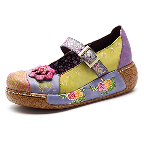 Socofy Wedges Sandals, Women's Colorful Flower Vintage Slip-on Leather Shoes Platform Sandal Purple #3 10 B(M) US