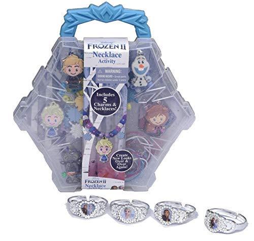 Disney Frozen 2 Necklace Making Activity Set with 4 Pre-Made Bracelets