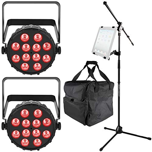 (2) Chauvet DJ SlimPAR T12 BT Bluetooth Wash Lights with Ultimate Support iPad Holder & Microphone Stand Package