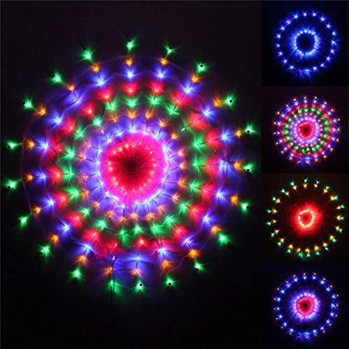 ELEGENCE-Z 160 LED-lichtgordijn voor ramen, rond, verschillende kleuren, geschikt voor binnen en buiten, 1,2 x 1,2 m