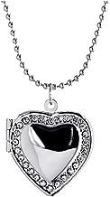 Kebaner Forever Love Gift Friend Crystal Heart Locket Necklace for Women Girls