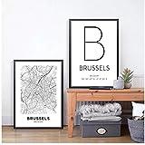 Negro Blanco Bruselas Bélgica Mapa de la ciudad Lienzos Carteles e impresiones Arte de la pared Pintura Decoración nórdica Imagen Decoración moderna para el hogar -40x60x2Pcscm Sin marco