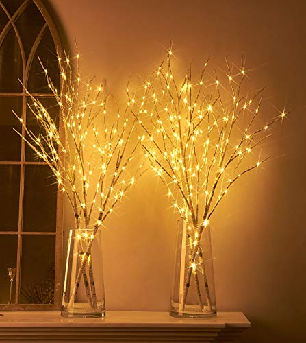 Hairui Lighted Artificial Twig Birch Tree Branch with Fairy Lights 32in 150 LED Plug in Lighted Willow Branch for Christmas Wedding Party Decoration 2 Sets (Vase Excluded)