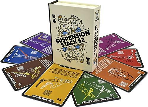 Stack 52 Suspension-Übungskarten, die mit TRX und anderen Trainer-Gurten kompatibel sind. Suspended Bodyweight Resistance Workout-Spiel. Videoanweisungen enthalten. Fun Home Fitness-Programm.