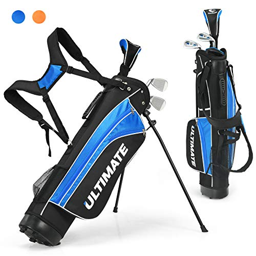 Tangkula Junior Complete Golf Club Set for Children Ages 8 and Up, Right Hand, Includes 3# Fairway Wood, 7# & 9# Irons, Putter, Head Cover, Golf Stand Bag, Perfect for Children, Kids(Blue)