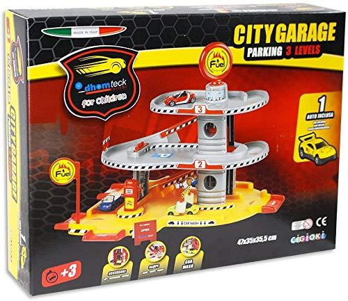 Aurora Store Garage Pista delle macchinine Giocattolo per Bambini da 3 Livelli con macchinina Inclusa Pit Stop parcheggio modellino Idea Regalo Bambino
