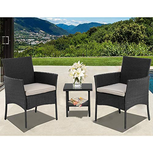 Wicker Patio Furniture 3 Piece Patio Set Chairs Wicker Outdoor Rattan Conversation Sets Bistro Set Coffee Table for Yard or Backyard