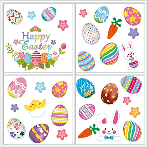 Easter Decorations Bunny Window Clings Decor,Easter Window Cling Stickers for Home Decoration,Bunny Easter Eggs Decals for Windows(66 pcs)