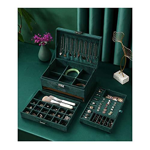 XIANWFBJ Schmuckkästen, Retro-Flanell Dreischichtige Schmuck Aufbewahrungsbox (Dunkelgrün) 24 * 17 * 11 cm Zur Aufbewahrung Verschiedener Kleiner Accessoires