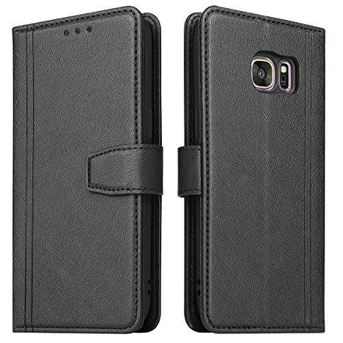 ZRANTU Handyhülle für Galaxy S7 Hülle Leder, [RFID Schutz] Klapphülle mit Kartenfach/Magnetverschluss Handytasche Schutzhülle Lederhülle Flip Hülle für Samsung Galaxy S7 (Schwarz)