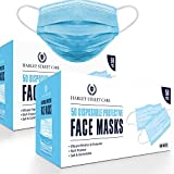 Harley Street Care Disposable Blue Face Masks Protective 3 Ply Breathable Triple Layer Mouth Cover with Elastic Earloops (Pack of 100)