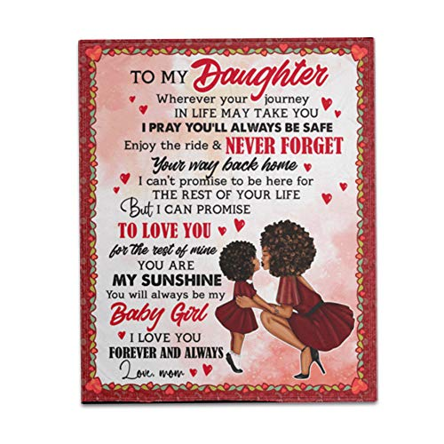 Asweeting to My Daughter from Mum Blanket, Fleece Blanket to My Daughter Letter Printed Quilts, Personalized Message Letter Blanket 60x50 inches 60x80 inches B