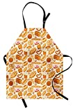 Lunarable Food Apron, Goods from Bakery Bread Doughnut Croissant Bagel and Cinnamon Bun Sketch Design, Unisex Kitchen Bib with Adjustable Neck for Cooking Gardening, Adult Size, Beige Brown
