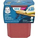 Gerber Purees 2nd Foods, Pear, Parsnip & Blueberry, 4 Ounce Tubs, (Pack of 8)