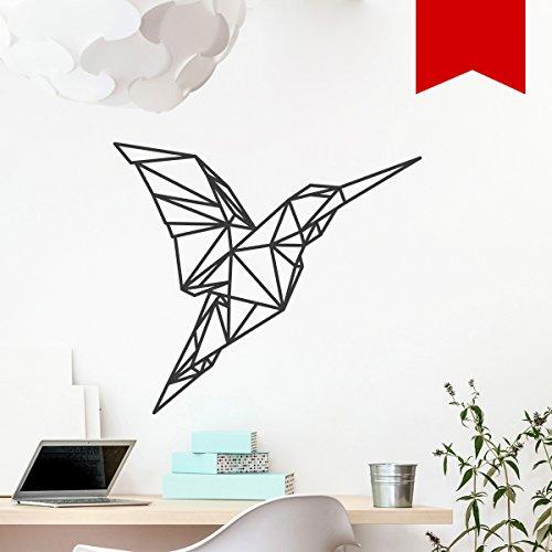 WANDKINGS Wandtattoo - Origami-Style Kolibri - 70 x 62 cm - Rot - Wähle aus 5 Größen & 35 Farben