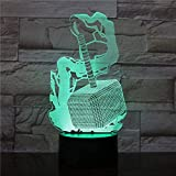 giyiohok Lampe Illusion 3D LED veilleuse Thor marteau lampe de nuit chambre lampe de Table Saint Valentin cadeaux pour amoureux Couples enfants sommeil lumière