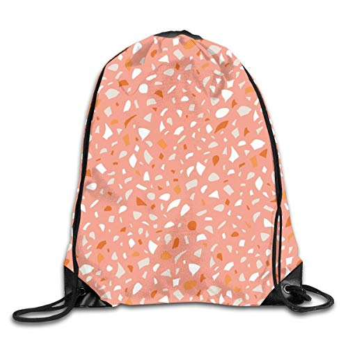 Lawenp Plegable Terrazzo Peach Drawstring Bag, Sports Cinch Sacks String Drawstring Backpack for Picnic Gym Sport Beach Yoga